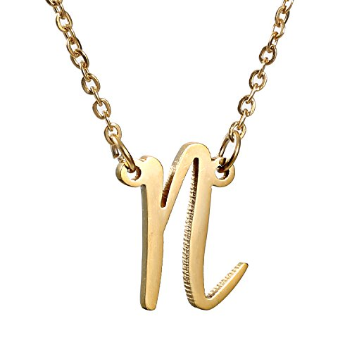 AOLO 14k Golden Charm Childs N Initial Necklace Best Friends Jewelry