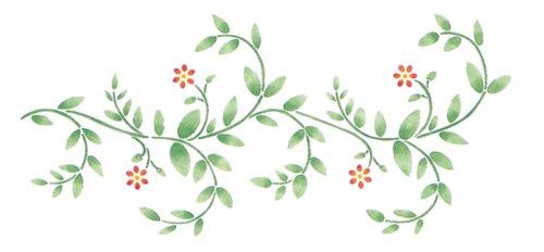 Flower Border Stencil - Delta Creative Stencil Magic Decorative Stencil, 8.25 by 18-Inch , 95-662 Delicate Vine Border