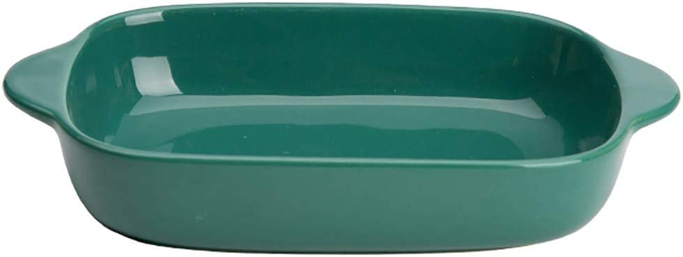 Ceramic Glaze Baking Dish for Oven Individual Roasting Lasagna Pan Small Casserole Bakeware with Handle, Green
