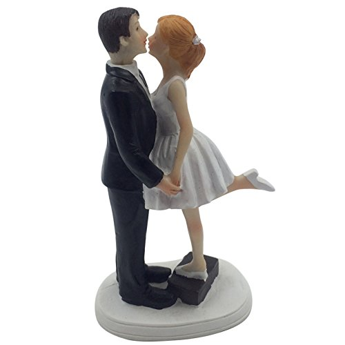 6 inch A Kiss and We're Off Bride and Groom Wedding Cake Topper Wedding Engagement Anniversary Bridal shower Party Cake Decoration Figurine Keepsake