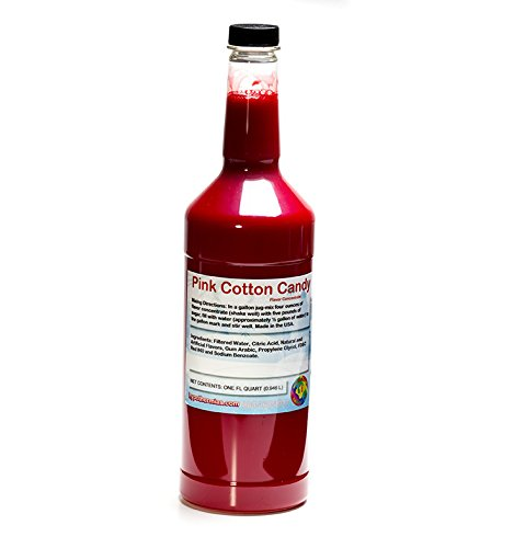 Pink Cotton Candy Shaved Ice and Snow Cone Flavor Concentrate Quart Size (32 Fl ()