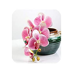 Zgen Artificial 3D Printing Phalaenopsis Fake Flowers 70cm Butterfly Orchid Flowers Branch Wedding Living Room Home Decoration,C 25