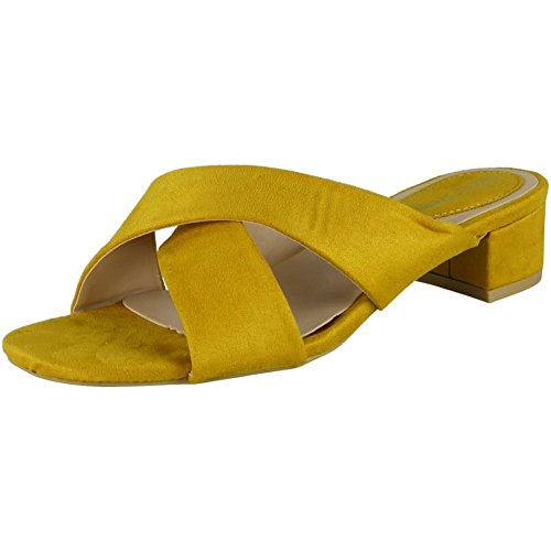 Loud Look Womens Mid Heel Shoes Ladies Strappy Faux Suede Slip On New Summer Sandals Size 3-8 Yellow KLS5XDdMFQ