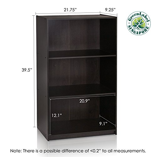 Furinno 99736EX Basic 3-Tier Bookcase Storage Shelves, Espresso by Furinno (Image #2)