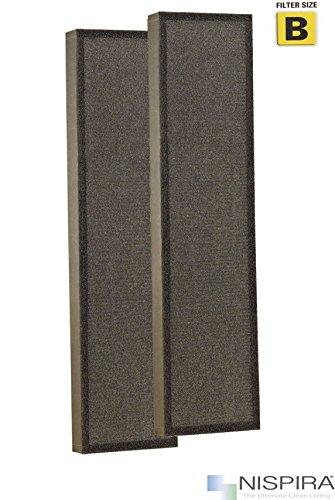 Nispira True HEPA Guardian Air Filter B Replacement Compatible with GermGuardian FLT4825 Purifier AC4825 AC4825E AC4825DL AC4825DLX AC4300BPTCA AC4850PT AC4900CA CDAP4500BCA CDAP4500WCA, 2 Sets