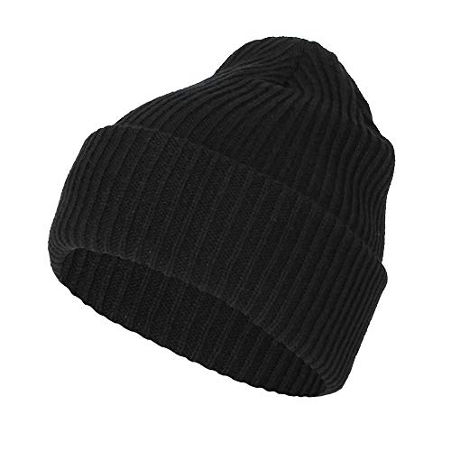 WITHMOONS Ribbed Knit Beanie Winter Hat Slouchy Watch Cap GZ50019 (Black)