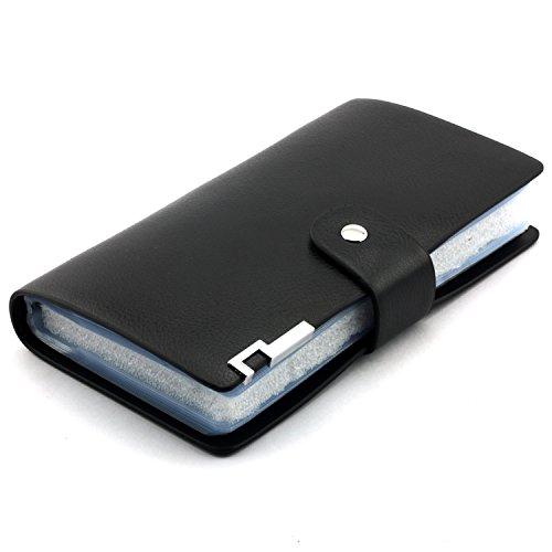 Longdex Soft Leather Business Name Card Holder Book with 102 Card Slots Credit Card Holder Wallet (Black)