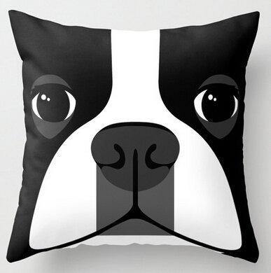 Mika Home Jacquard Throw Pillow Cases 1818inch( Black White Dog Boston Terrier ) ()
