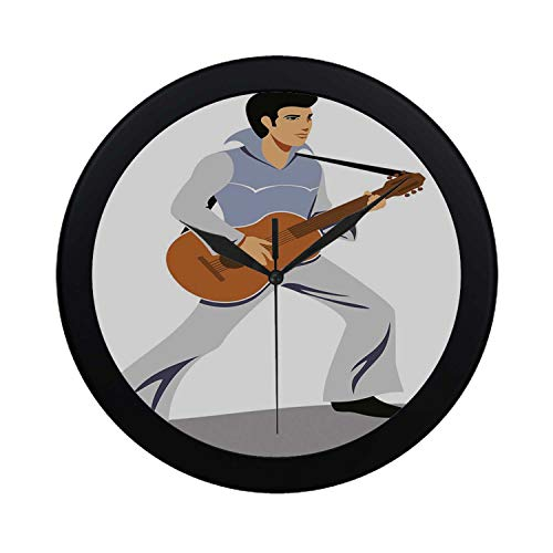 C COABALLA Elvis Presley Decor Circular Plastic Wall Clock,Musician Artist Guitar Instrument Rock and Sound Cartoon for Home,9.65
