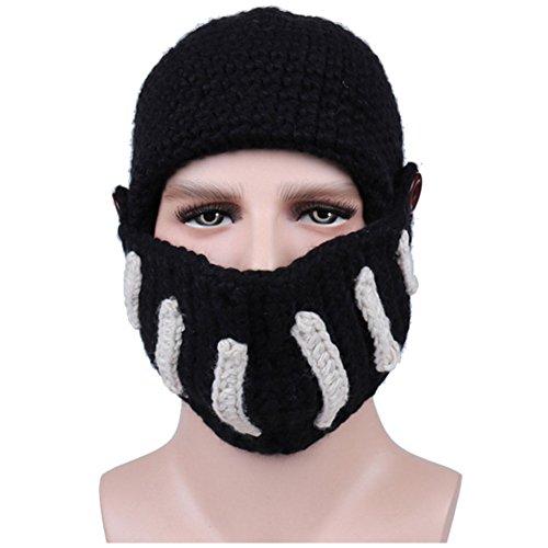 Creative Original Barbarian Knit Hair Beard Hat and Roman Knight Helmet Visor Cosplay Knit Beanie Hat (Roman (Mens Barbarian Wig)