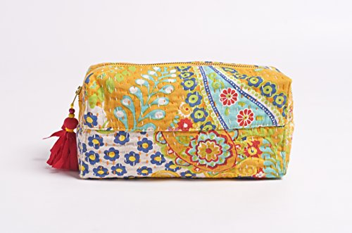 Yellow beauty case, kantha Pouch, make up o per cosmetici, borsello, 10,2 x 7,6 x 20,3 cm