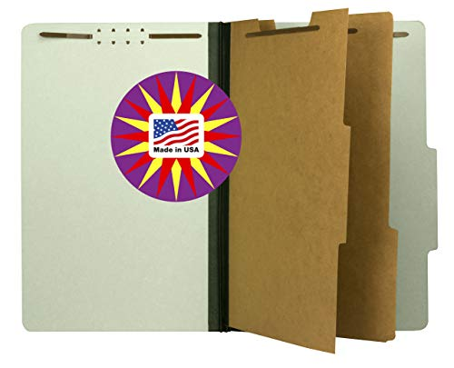 - Pressboard Classification File Folder with 2 dividers and Fasteners, Legal Size, Green, 2