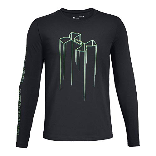Under Armour Boys Electro Branded Long sleeve Tee, Black (001)/Green Malachite, Youth X-Large