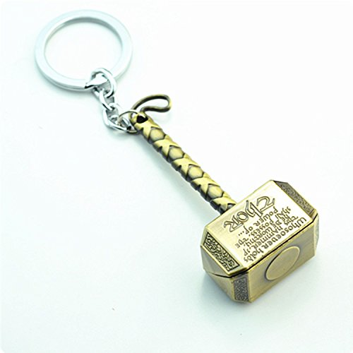 Zinc Alloy Marvel Comics Avengers Thor Hammer Pewter Key Ring Retro Key Chain Gift Pendant (Gold)