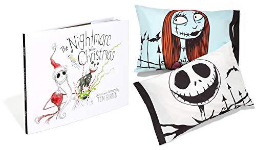 Storytime Nightmare His & Hers Exclusive Pillow Jack Skelington & Sally + The Nightmare Before Christmas 20th Anniversary Book ()