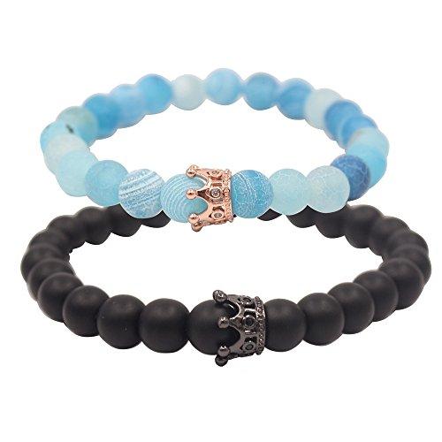 UEUC Distance Couple Bracelet with CZ Crown King&Queen Black Matte Agate & Blue Agate 8mm Beads Bracelet