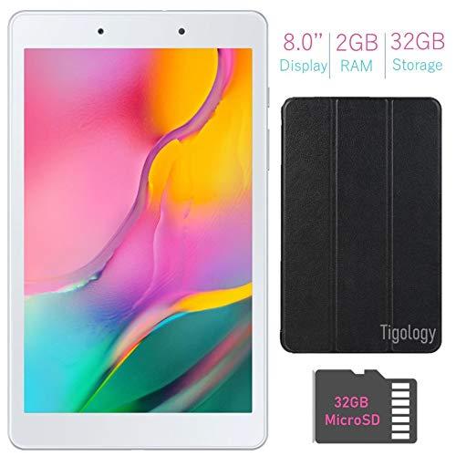 Samsung Galaxy Tab A 8.0-inch Touchscreen (1280×800) Wi-Fi Tablet Bundle, Qualcomm Snapdragon 429 Processor, 2GB RAM, 32GB Memory, Bluetooth, 32GB MicroSD Card, Tigology Case, Android 9.0 Pie OS