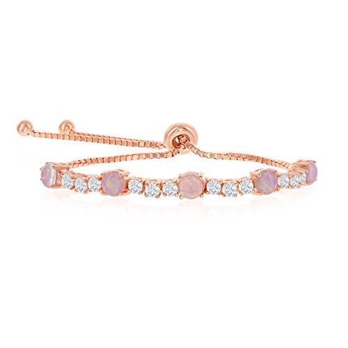 - Sterling Silver Rose Tone Alternating Four-Prong Cubic Zirconia & Created Pink Opal Adjustable Bolo Bracelet