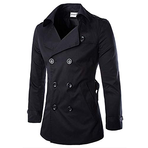 Buttons Nero Outwear Caldo Pile Abbigliamento Cappotto Giacche Inverno Trench Yesmile Lungo Uomo Autunno Slim Di Giacca qxazzH