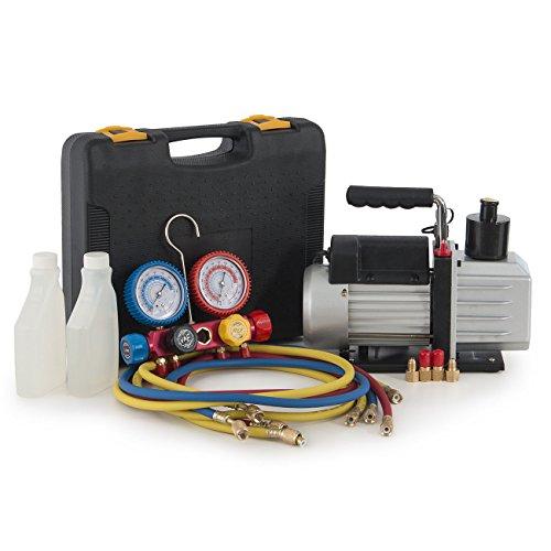 Professional AC/HVAC 5CFM Vacuum Pump 1/2HP 4-Way 4-Valve Manifold Gauge 4Hose for Automotive/Household Air Conditioning Units