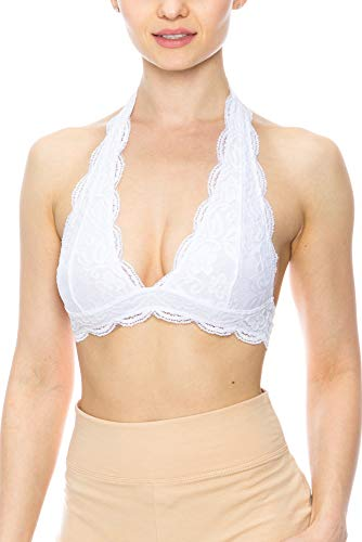 - KLKD A098 Women's Lace Halter Bralette White X-Large/XX-Large