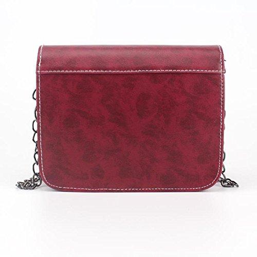 Hrph Small Chain Messenger Lady Handbags Clutches Shoulder Retro Mini Rouge Vin Bag Square Bag Handbag Bags Women zOxrzq1