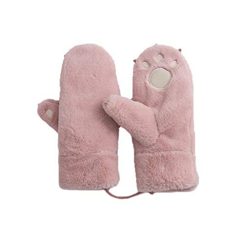 お金ピル枕LIZHIQIANG 手袋、ぬいぐるみ手袋、暖かい防風漫画プラス厚いサイクリング手袋、女性の手袋女性の冬のかわいい手袋(4色) (色 : Pink)