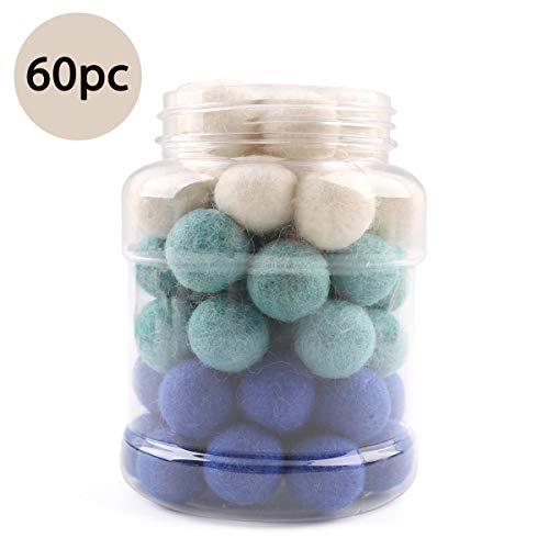 Wool Felt Balls Pom Pom Balls Wall Pendant Home Decor 2cm 60pcs DIY Hobby Supplies Handmade Crafts Blue Series ()