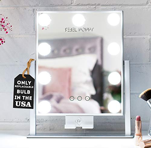 REBEL POPPY Lighted Makeup Mirror with LED Lights and Phone Mount, 3 - Defogger Bathroom Fan Mirrors