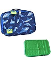 Go Green Lunch Box Set 5 Compartment Leak-Proof Lunch Box Insulated Carrying Bag Beverage Bottle Gel Freezer Pack (Cherries Jubilee)