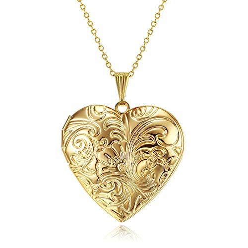 YOUFENG Locket Necklace That Holds Pictures Flower Lockets Necklaces Pendant 18K Gold Plated Gifts for Women Girl