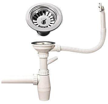 Flexibler Spüle Siphon Geruchsverschluss ABLAUFSIEB Sifon Ablaufgarnitur Ø32 mm