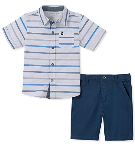 (Calvin Klein Boys' Toddler 2 Pieces Shirt Shorts Set, White/Blue Stripes, 2T)