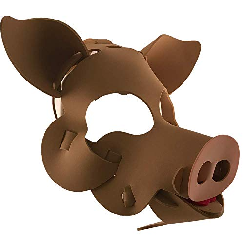Pig Mask with Elastic Great for Halloween, Sporting Events, Having Fun - One Size Fits Adults & Children - Brown -