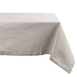 DII CAMZ36978 100% Cotton, Machine Washable, Everyday Kitchen Tablecloth for Dinner Parties, Summer & Outdoor Picnics-60x120 Seats 10 to 12 People, Chambray, 60x120, Natural
