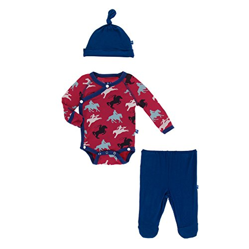 Kickee Pants Little Boys Kimono Newborn Gift Set With Elephant Box - Flag Red Cowboy, 3-6 Months