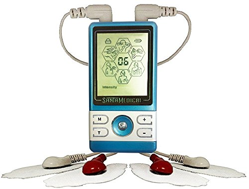 Santamedical PM-470 Blue Tens Unit Electronic Pulse Massager with Rechargeable Battery