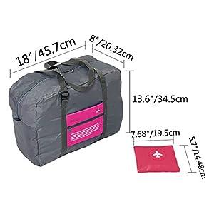 HEXIN Unisex 32L Portable Nylon Waterproof Traveling Organizer Duffel Bag(Rose Red)