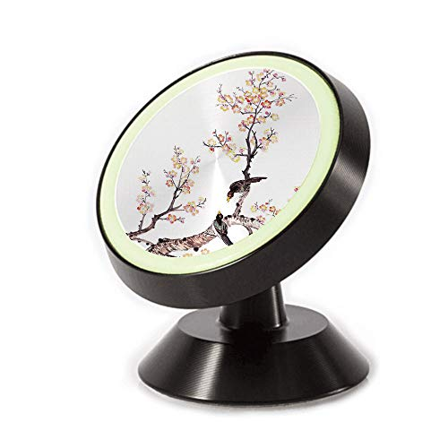 (Magnetic Dashboard Cell Phone Car Mount Holder,Flowers Plum Blossom Birds on Tree Romance Print,can be Adjusted 360 Degrees to Rotate,Phone Holder Compatible All Smartphones)