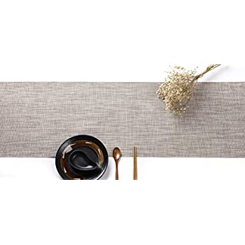 "HYSENM Western Style Eco-Friendly Rectangular Heat Insulation PVC Vinyl Weave Table Runner (12""X90"", Beige)"