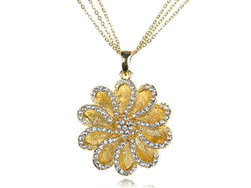 (Alilang Gorgeous Golden Tone Clear Crystal Rhinestone Daisy Flower Pendant Necklace)