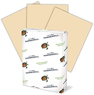 product image for Hammermill Colored Paper, 20 lb Tan Printer Paper, 8.5 x 11-1 Ream (500 Sheets) - Made in the USA, Pastel Paper