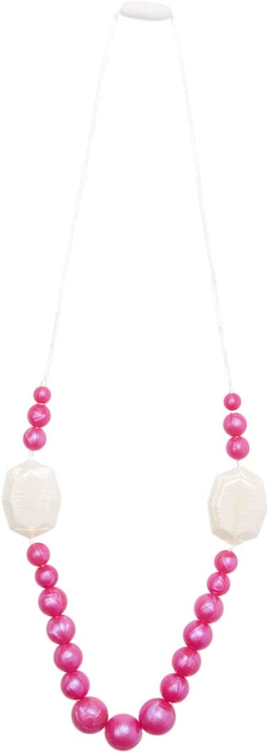 Gumeez Teething Necklace Marisol - White /& Pink Pearl Faceted Rectangle and Round Beads