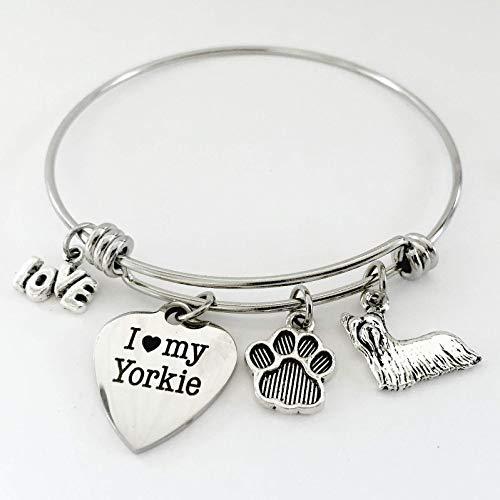I Love My Yorkie Bracelet Yorkshire Terrier Charm Bangle for Dog Mom Gift - Small-Med ()