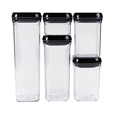 Oxo Good Grips 5-piece Pop Container Set, Black Lids