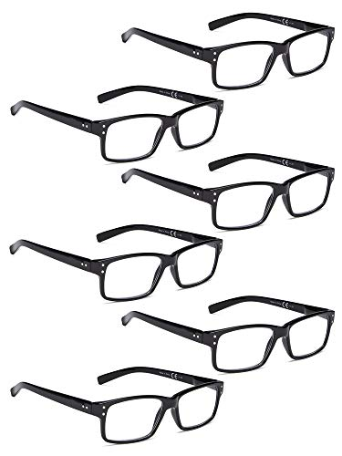 - READING GLASSES 6 Pack Spring Hinge Comfort Plastic Readers (Black, 1.75)