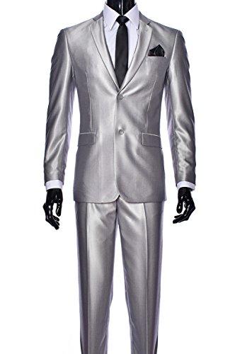 Elegant Men's Slim Fit Two Button Two Piece Suit (42 Regular, Silver -