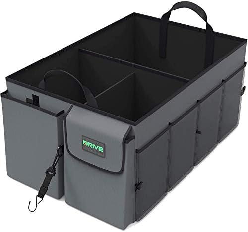 Drive Auto Products Auto Organizer Kofferraum Organizer Kofferraumtasche Mit Spanngurten Praktische Auto Faltbox Robuste Tasche Mit Vielen Fächern Auto