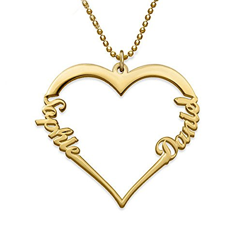 (Yandam Heart-Shaped Necklace - My Eternal Love Series Custom Name Necklace Gift(Gold-Plated-Base)