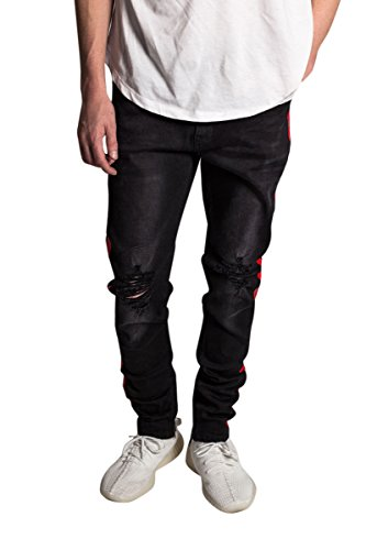 KDNK Men's Tapered Skinny Fit Stretch Denim Ankle Zip Striped Track Jeans (34, Black/Red ()